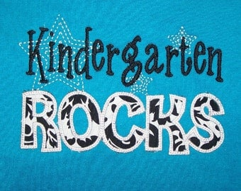 Trendy Kindergarten Rocks tshirt appliqued Damask fabric t shirt