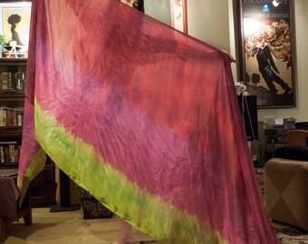 Silk Bellydance Veil 4 yard in Burgundy, Magenta & Lime
