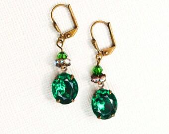 Emerald Rhinestone Drop Earrings - Vintage Style, Formal, Hollywood