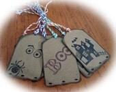 Halloween Gift Hang Tag Hand Stamped Spooky Primitive Kraft