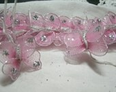 12 nylon butterflies PINK vintage embellishments craft supplies glitter wings