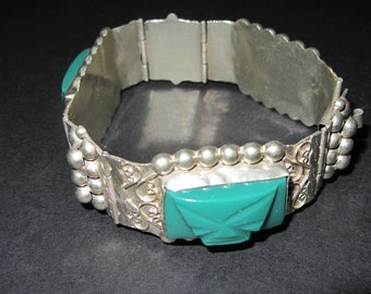 Vintage Mexican Sterling Silver and Mexican Jade