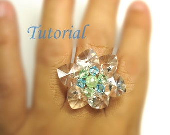 Beading Tutorial - Beaded Flower Of Hearts Ring