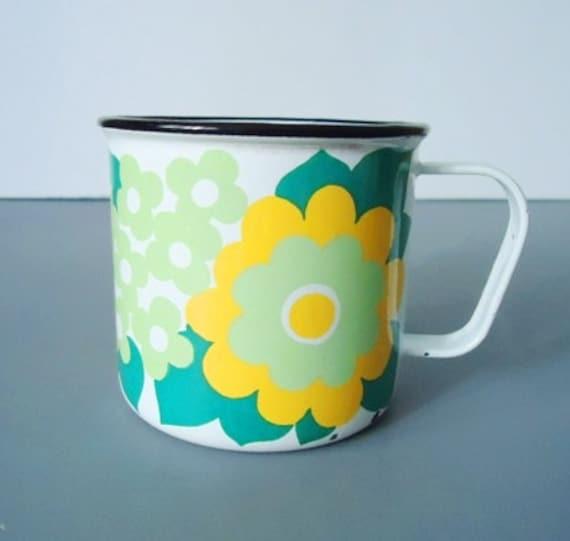 Retro Finel of Finland Mugs, Rare Floral Enamelware Mugs, Coffee Cup, Mug, Floral Cup. Finel Finland