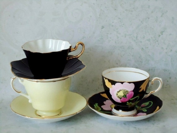 Three Mix N Match Vintage Teacups and Saucers - Vintage Teacup and Saucer Set - Tea Cups and Saucers