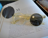 HOLIDAY SALE Vintage Rare Transparent Eyeglasses with attached Flipped-up Sunglasses