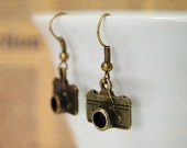 Charm Earrings - Mini Cameras (Can be converted to clip-ons)