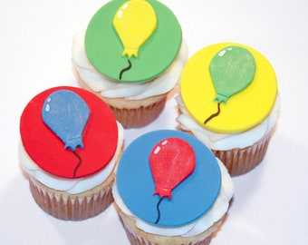 Fondant cupcake toppers Balloons Party