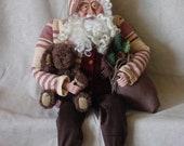 OOAK Sitting Santa in Homespun Fabric