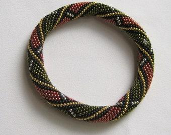 Bead Crochet Bangle Pattern:  Autumn Spirals Bead Crochet Bangle Pattern