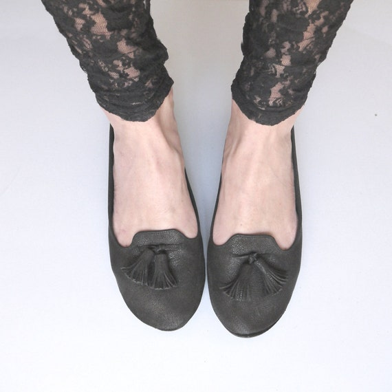 The Loafers Shoes - Handmade Black Leather Loafers - Reserved for Lisa
