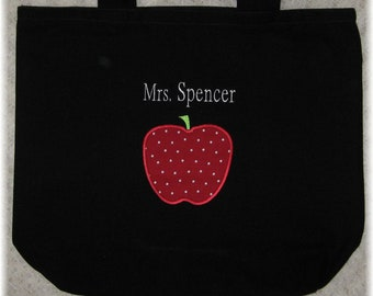 TEACHER Personalized Tote bag large black canvas Back to School preschool kindergarten elementary school daycare librarian gift idea