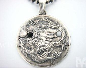 Sterling Silver Ying Yang Dragon Pendant