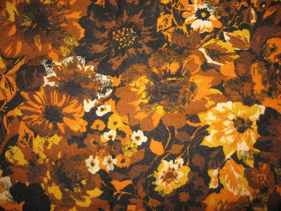 RESERVED for Colleen-Vintage heavy woven 60s 70s upholstery barkcloth sunflower  print brown orange yellow