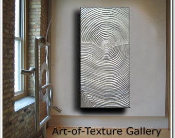 Original Abstract Texture Painting 48 x 24 Modern White Silver Metallic Knife Oil by Je Hlobik
