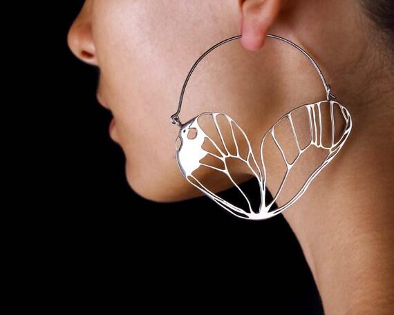 Butterfly Wing Earrings Silver