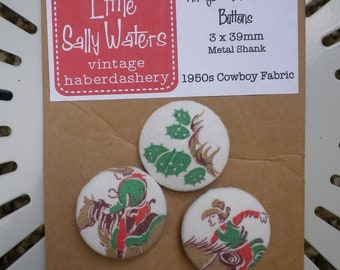 3 x Vintage 1950s Cowboy Fabric Covered Buttons 39mm Metal Shank