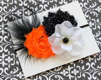 Fancy Halloween Shabby Headband, Orange White Black Feather Headband (Newborn, Toddler, Child)