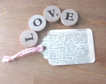 Love and Romance Gift Tags / Upcycled Dictionary Ephemera / Set of 11 OOAK Gift Tags