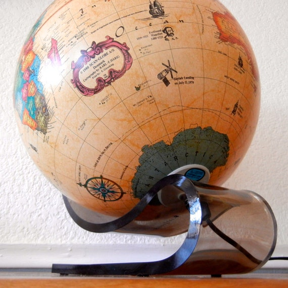 Vintage Globe, Lights Up. 1980s Illuminated Scan-Globe, Lucite Swan Base