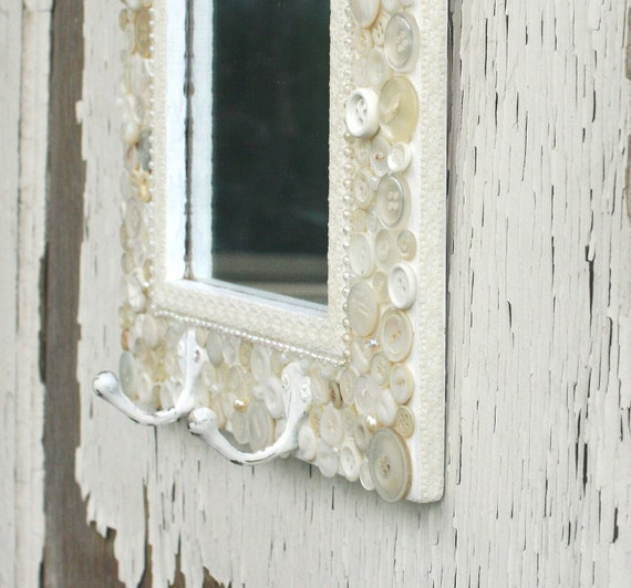 Shabby Chic Mirror coverd with Vintage Buttons, Lace and pearls, with two hooks