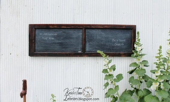 "Reclaimed Wooden Chalkboard created from Antique Window / Cabinet Door - LARGE - 62-1/2"" wide"