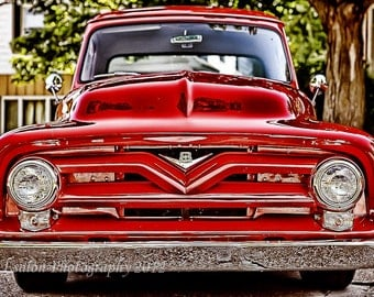 Classic Ford V8 red pickup truck color print