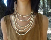 Tribal Necklace of Acai seeds and Antique Tibetan Bone beads