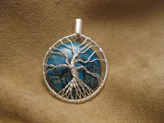 Tree of Life wire wrapped pendant with Larimer Blue wavy Zebra Jasper stone