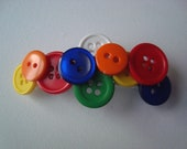 Button French Barrette Primary Colors Girls Hair Clip