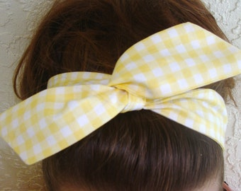 Dolly Bow,Yellow Checkered, Gingham Wire Headband