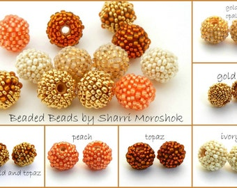 Small Round Beaded Beads - 10mm earring pairs spacer beads - peach topaz gold ivory