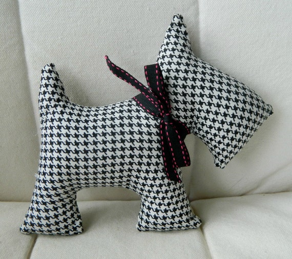 Stuffed Scotty Dog - Black and White Houndstooth