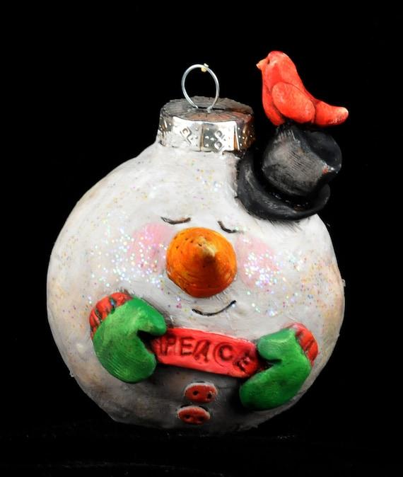 Vintage style snowman christmas ornament
