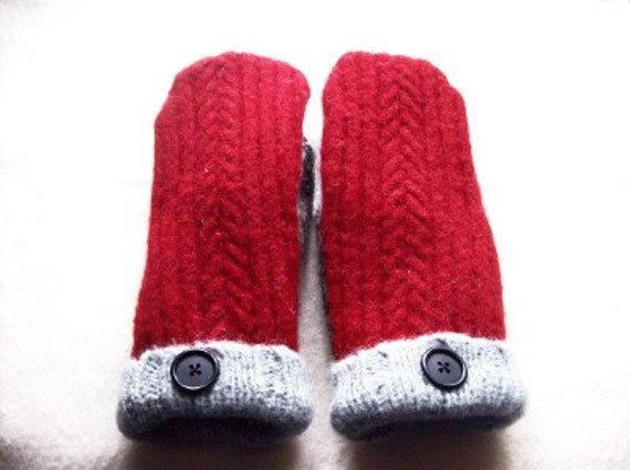 Felted Wool Mittens made with recycled wool sweaters fleece lined vintage button red gray black