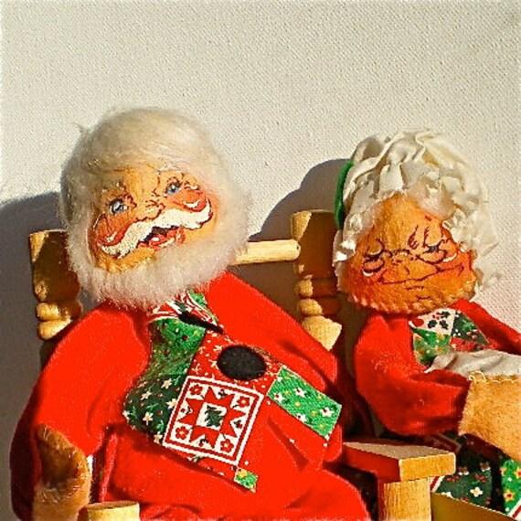 Annalee Dolls Christmas 1963 Santa Mrs Claus Vintage