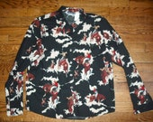 Panhandle Slim Black Western Shirt with Old Time Cowboy Print, Size Large