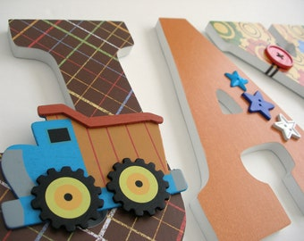 Custom Wooden Letters for Nursery - Construction Theme - Dump Truck - Baby Boy Hanging Wall Decor