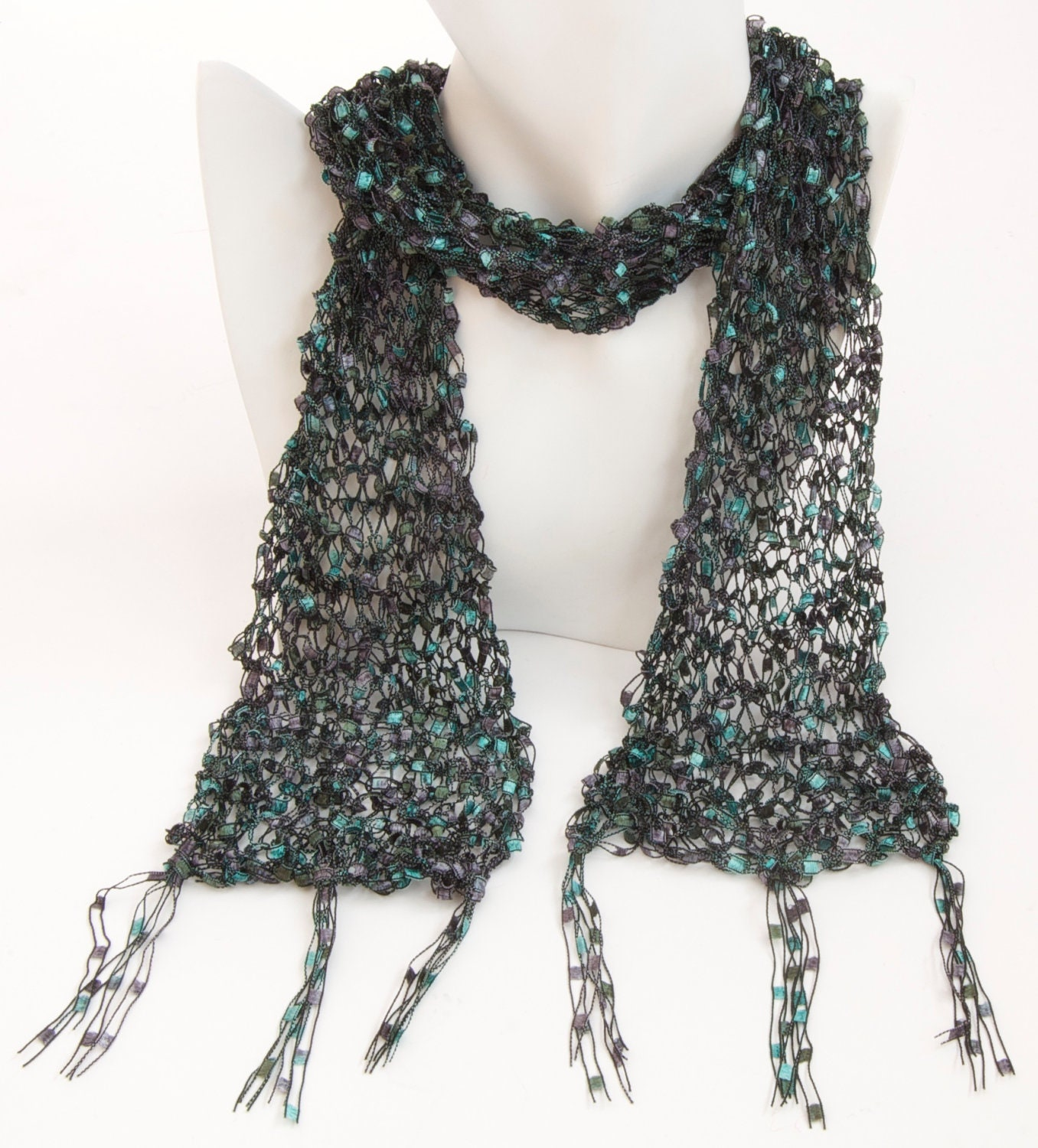 Green Ladder Yarn Scarf Black Trellis Lace By Emmadickiedesign
