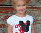 1st, 2nd,3rd Birthday  Personalized Minnie Mouse-applique shirt -red/white polka dot- w/ bows, 1st birthday Mickey Minnie