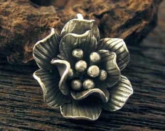 Karen Hill Tribe Ruffled Roses - 1 Large 18mm Fine Silver Flower Charm - Doubled Petaled Pendant - P14