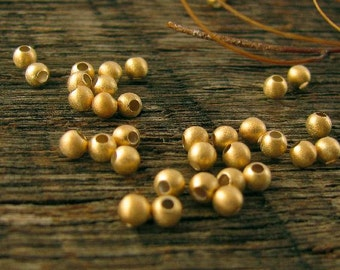 Gold  Vermeil Beads 3mm Round - Small Gold Seed Beads - 100 Brushed Satin Finish Vermeil Beads - MB235