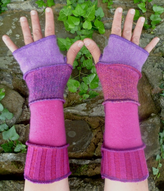 One of a kind arm warmers fingerless gloves from recycled sweaters pink and purple by SpiralGypsy