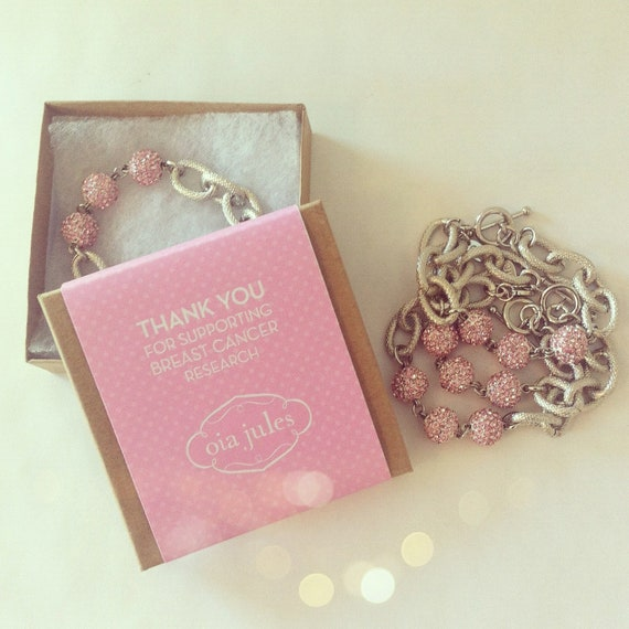 Help raise money for Breast Cancer Research - the PINK Bracelet - Pave & Silver Link Bracelet