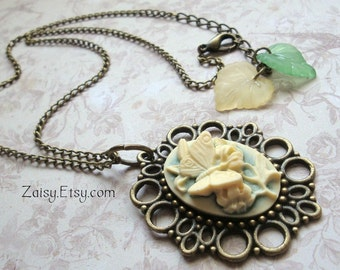 SALE, Butterfly Cameo Necklace with Leaves, Yellow and Green