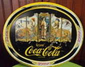 Vintage Coca-Cola Oval Serving Tray RARE Repro of Early 1900's Advertisements Pin Up Girls Chippy