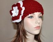 Ear warmer Crochet Headband CHOOSE COLOR Flower Cranberry White Rose Knitted Earwarmer Hat Headband Ear Cover Girly Christmas Gift under 50