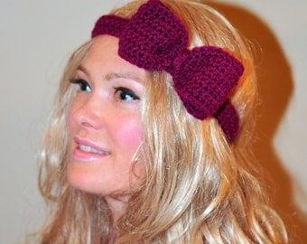 Crochet Headband Bow Wild Berry Headwrap  Berry Red Raspberry Crochet Headband Girly Cute Adjustable Gift under 25
