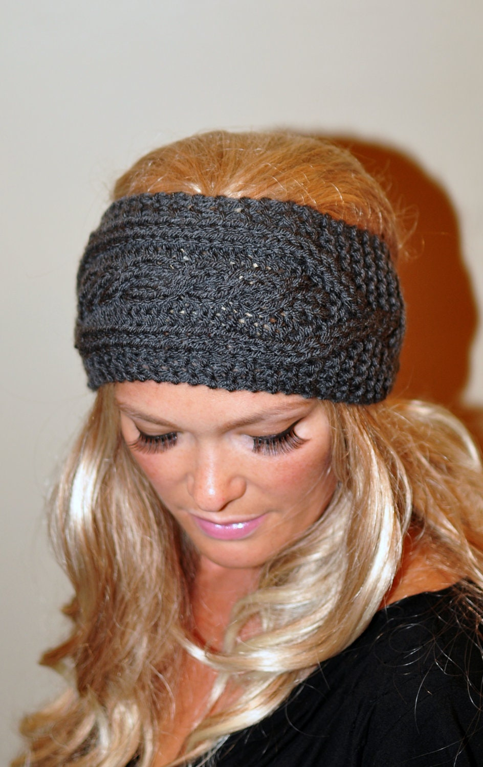 Ear Warmer WOOL Crochet Headband Knit Head wrap Braided
