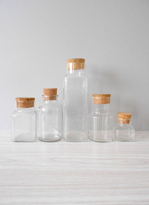 Instant Collection of Glass Apothecary Jars with Cork Lid